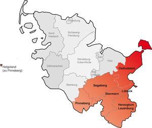Karte DGB-Region Schleswig-Holstein Südost