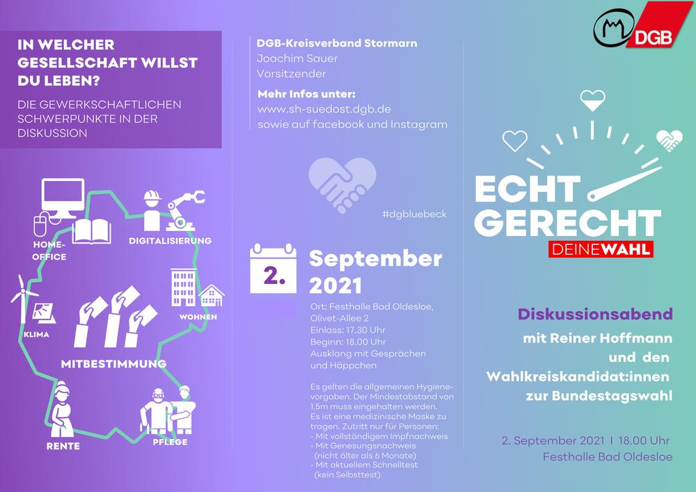 Diskussionsabend mit Reiner Hoffmann und den Wahlkreiskandidat:innen zur Bundestagswahl